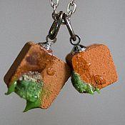 Украшения ручной работы. Ярмарка Мастеров - ручная работа Кулон - кирпич и плитка с мхом из глины. Handmade.