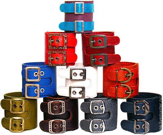 Браслеты ручной работы. Ярмарка Мастеров - ручная работа. Купить кожаные браслеты с 2-мя пряжками. Handmade. Кожа