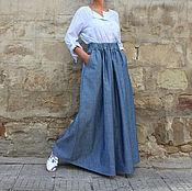 Одежда ручной работы. Ярмарка Мастеров - ручная работа Длинная джинсовая макси юбка с высокой талией, большие размеры. Handmade.