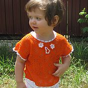 Работы для детей, handmade. Livemaster - original item Top knitted cotton girls Orange mood. Handmade.