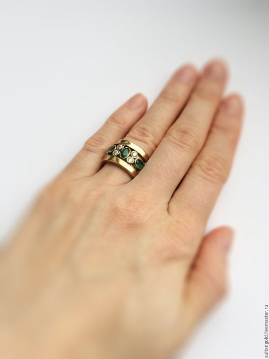 Кольца ручной работы. Ярмарка Мастеров - ручная работа. Купить Кольцо Королевский Изумруд. Handmade. Золотой, кольцо с камнями, Гарем