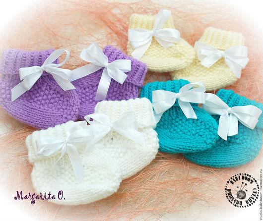 Для новорожденных, ручной работы. Ярмарка Мастеров - ручная работа. Купить Пинетки носочки. Handmade. Комбинированный, пинетки вязаные