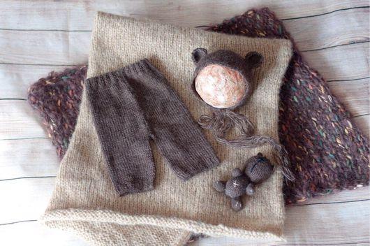 Для новорожденных, ручной работы. Ярмарка Мастеров - ручная работа. Купить Костюм для новорожденного, шапка, штаны и игрушка для фотосессии. Handmade.