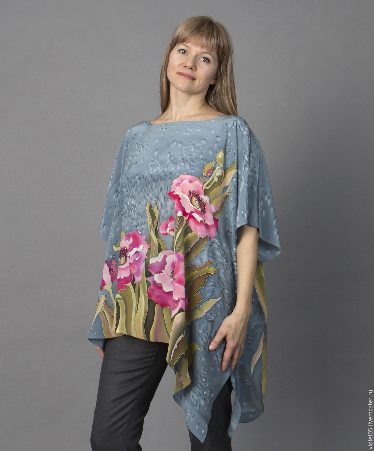 SCARLET Poppies tunic made of natural silk, Tunics, Moscow,  Фото №1
