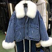 Куртки ручной работы. Ярмарка Мастеров - ручная работа Куртки: Джинсовая женская теплая куртка. Handmade.
