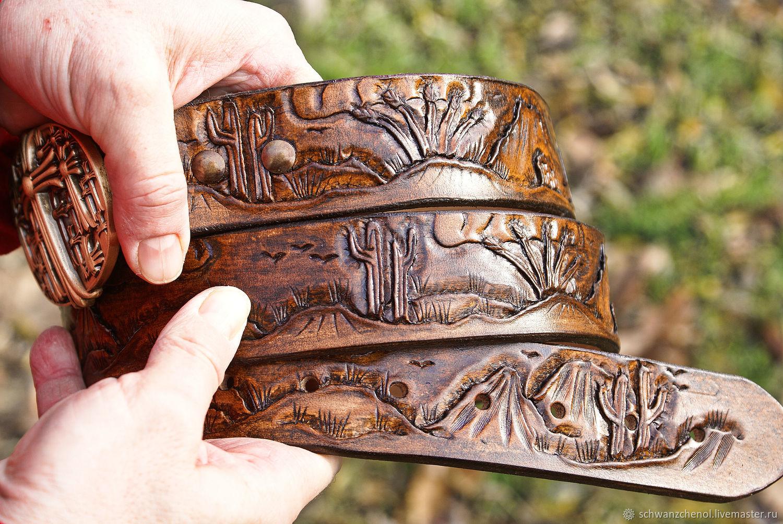 Mens leather belt handmade, Straps, Krasnodar,  Фото №1