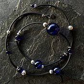 Украшения handmade. Livemaster - original item Long necklace made of hematite, rubber and Murano hollow glass. Handmade.