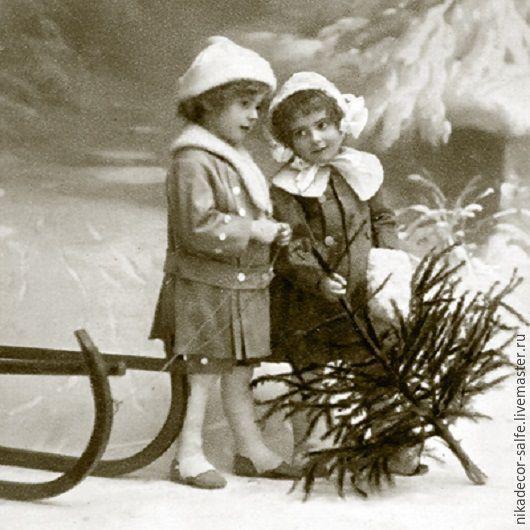 Декупаж и роспись ручной работы. Ярмарка Мастеров - ручная работа. Купить Рождественские девочки (80005) 33х33 салфетка для декупажа. Handmade.