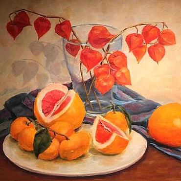 Картины и панно ручной работы. Ярмарка Мастеров - ручная работа Картина маслом Оранжевое настроение Натюрморт. Handmade.