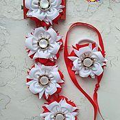 Работы для детей, handmade. Livemaster - original item Ribbon in a braid kanzashi. Handmade.