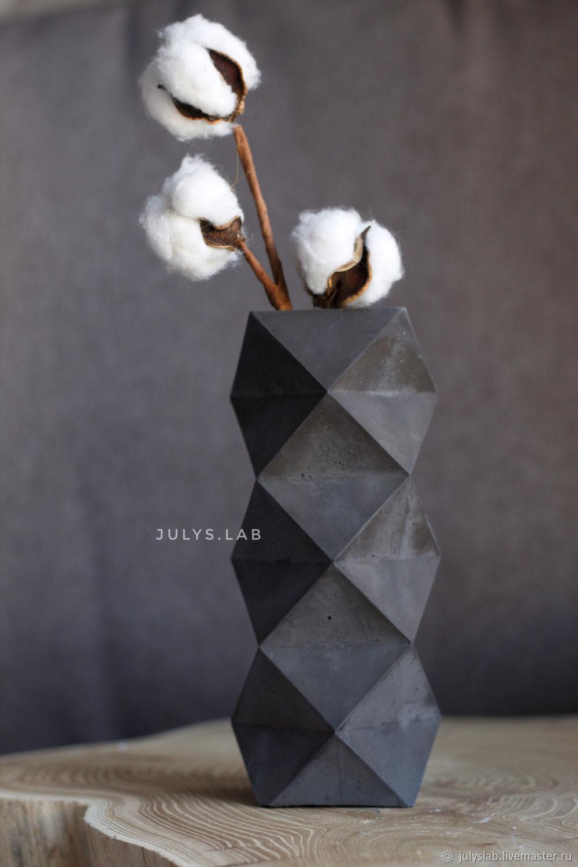Ваза из черного бетона геометрической формы в стиле Лофт, Вазы, Санкт-Петербург,  Фото №1