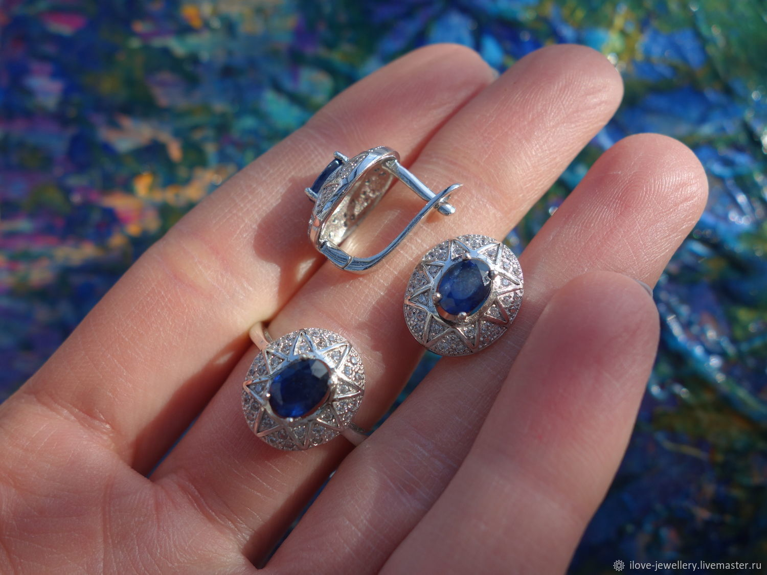 'Starry Night'-a charming set with blue sapphires, Jewelry Sets, Moscow,  Фото №1