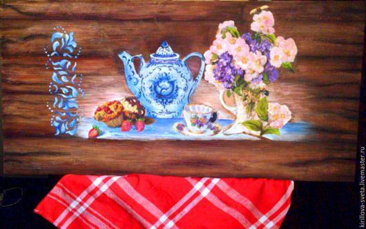 """Натюрморт ручной работы. Ярмарка Мастеров - ручная работа. Купить Деревянное панно """" Чайная пауза"""". Handmade. Синий"""