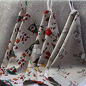 Для дома и интерьера handmade. Livemaster - original item Christmas linen kitchen towels in stock. Handmade.