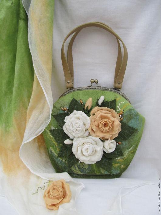Женские сумки ручной работы. Ярмарка Мастеров - ручная работа. Купить сумка валяная  Летнее настроение. Handmade. Зеленый