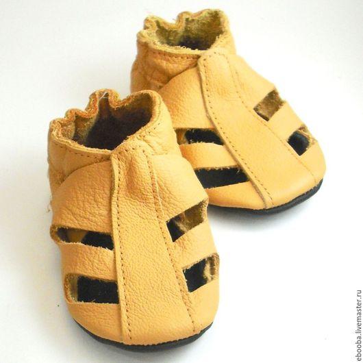 Кожаные чешки тапочки пинетки сандалики жёлтые ebooba