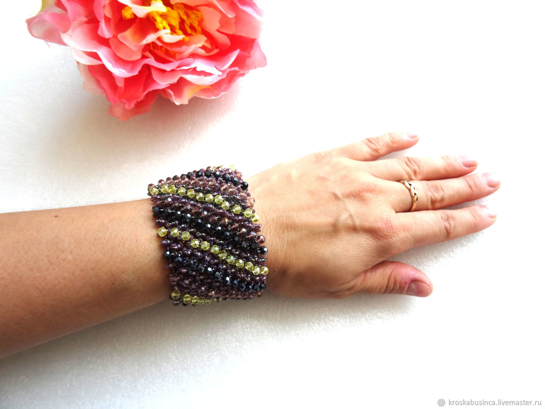 Wide beaded fur bracelet 'Shine', Bead bracelet, Novocheboksarsk,  Фото №1