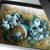 "Украшения handmade. Livemaster - original item Голубой комплект из кожи ""Цветущая гортензия"". Handmade."
