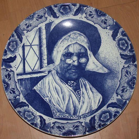 """Винтажные предметы интерьера. Ярмарка Мастеров - ручная работа. Купить Эксклюзивная тарелка-картина """"Строгая монахиня"""", Delft Blue, Голланд.. Handmade."""