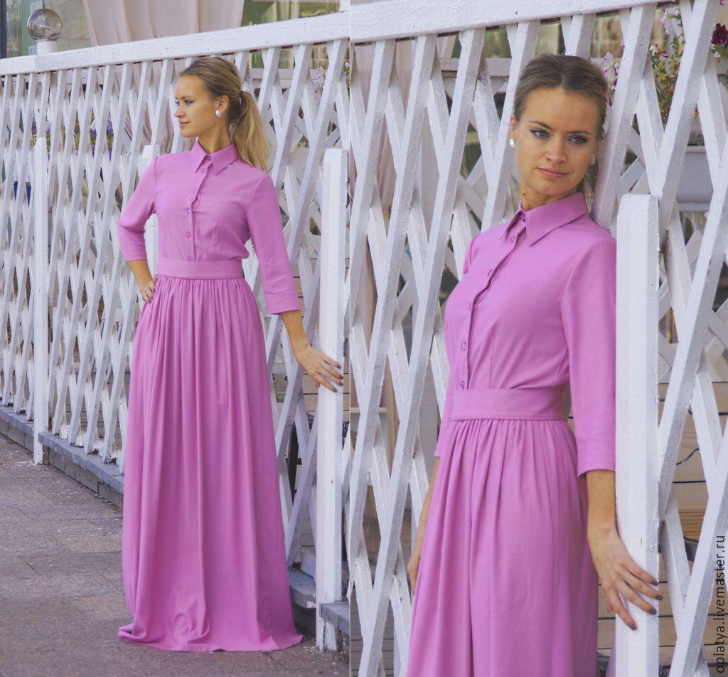 Длинное платье в пол на осень