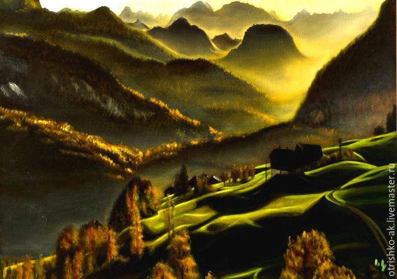 Картина маслом . Утро в Альпах, Картины, Новосибирск,  Фото №1