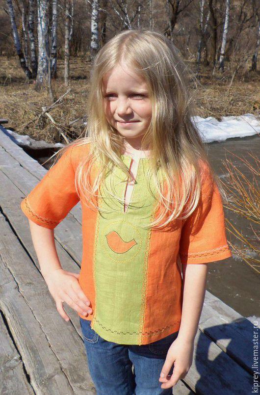"""Одежда унисекс ручной работы. Ярмарка Мастеров - ручная работа. Купить Детская льняная рубашка-разукрашка """"Птичка"""". Handmade. Оранжевый"""