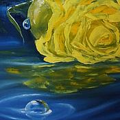 Картины и панно ручной работы. Ярмарка Мастеров - ручная работа Картина маслом Роза на воде желтая с росой 50х70. Handmade.