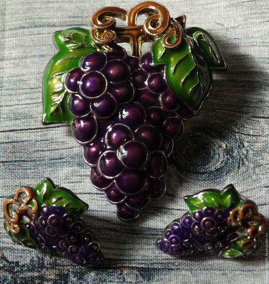 """Винтажные украшения. Ярмарка Мастеров - ручная работа. Купить Винтажный сет """"Сочный виноград"""". Handmade. Тёмно-фиолетовый, бижутерный сплав"""