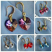 Украшения handmade. Livemaster - original item Heart earrings Swarovski. Handmade.