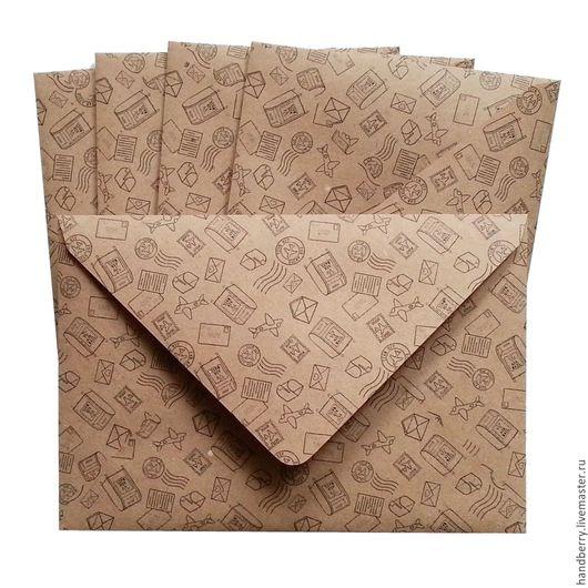 Упаковка ручной работы. Ярмарка Мастеров - ручная работа. Купить Крафт-конверты / почтовый принт. Handmade. Коричневый