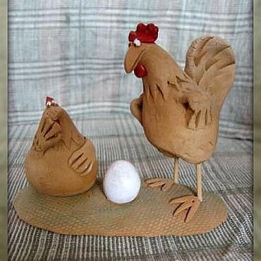 Для дома и интерьера ручной работы. Ярмарка Мастеров - ручная работа Я бы тому страусу.... Петух. Курица. Керамика.. Handmade.