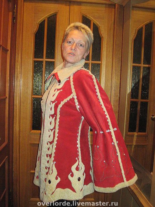 """Верхняя одежда ручной работы. Ярмарка Мастеров - ручная работа. Купить Дубленка """" Иней на красном"""". Handmade. Дубленка, авторская"""