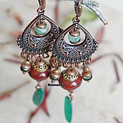Украшения handmade. Livemaster - original item BOHO earrings with red jasper and chrysoprase