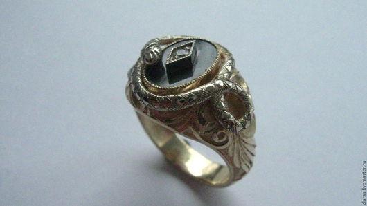 Кольца ручной работы. Ярмарка Мастеров - ручная работа. Купить Перстень со змеёй. Handmade. Золотой, перстень с змеёй