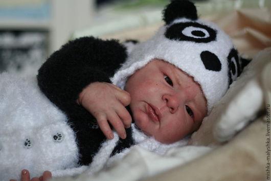 """Для новорожденных, ручной работы. Ярмарка Мастеров - ручная работа. Купить Комплект """"Мишка-панда"""". Handmade. Чёрно-белый, для малышки"""