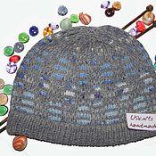 Аксессуары handmade. Livemaster - original item Knitted hat (beanie) gray-blue sports unisex. Handmade.