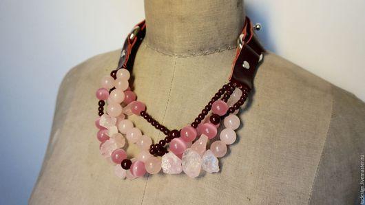 """Колье, бусы ручной работы. Ярмарка Мастеров - ручная работа. Купить Колье """"Цветение сакуры"""". Handmade. Розовый, розовый кварц"""