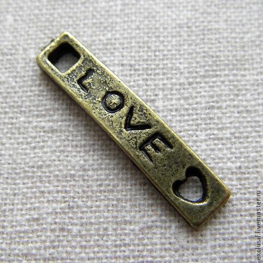 """Для украшений ручной работы. Ярмарка Мастеров - ручная работа. Купить Подвеска (бирка, коннектор) с надписью """"LOVE"""". Handmade. Подвеска"""