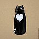 """Магниты ручной работы. Ярмарка Мастеров - ручная работа. Купить магнит """"котя любит тебя"""". Handmade. Чёрно-белый, котик"""