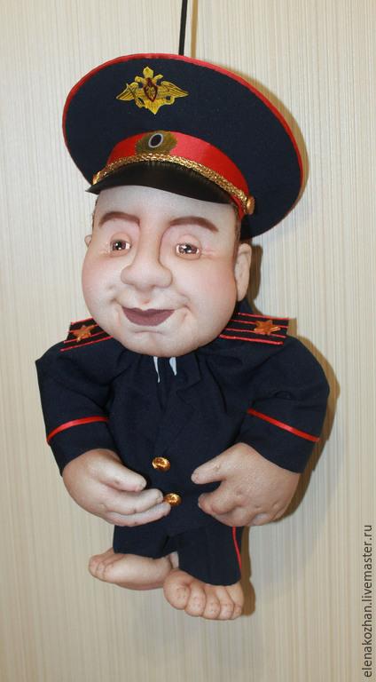 """Персональные подарки ручной работы. Ярмарка Мастеров - ручная работа. Купить Полицейский. Кукла -""""попик"""". Handmade. Тёмно-синий, с юмором"""