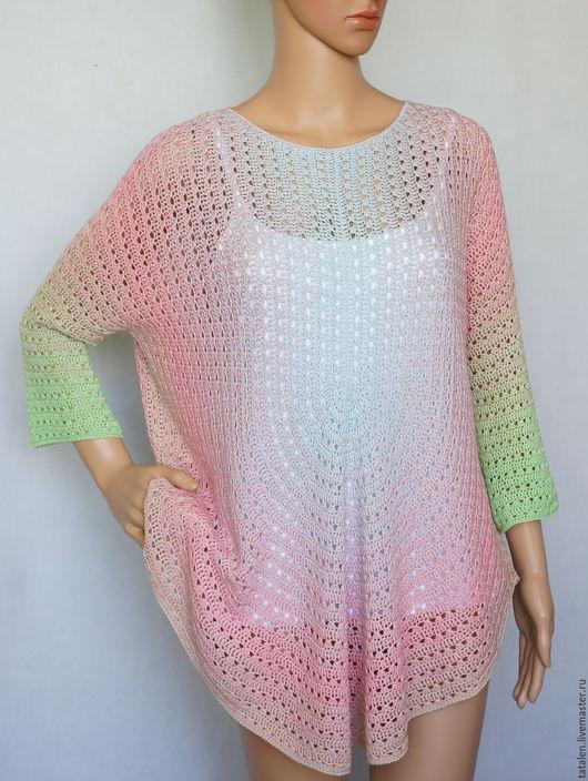 """Кофты и свитера ручной работы. Ярмарка Мастеров - ручная работа. Купить Пуловер-пончо шёлк """"Голубой и розовый"""". Handmade. Комбинированный"""