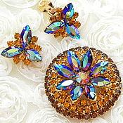 Винтаж handmade. Livemaster - original item Jewelry set Radiance, Juliana, Bergere, USA, ,60s, brooch and clips. Handmade.