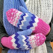 Аксессуары handmade. Livemaster - original item Knitted gloves (cashmere pink, white, blue, blue). Handmade.