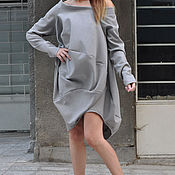 Одежда handmade. Livemaster - original item Fashionable, grey tunic dress - TU0472PM. Handmade.