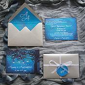 """Приглашения ручной работы. Ярмарка Мастеров - ручная работа Приглашение в конверте """"Ночной лес"""". Handmade."""