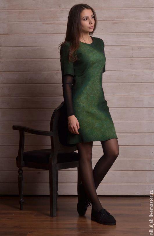 Платья ручной работы. Ярмарка Мастеров - ручная работа. Купить Платье Валяное Emerald. Handmade. Зеленый, emerald, войлочное платье
