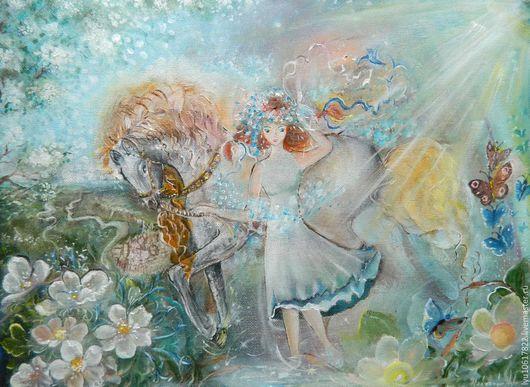 """Пейзаж ручной работы. Ярмарка Мастеров - ручная работа. Купить Картина """"Девушка Лето...."""". Handmade. Комбинированный, картина на холсте"""