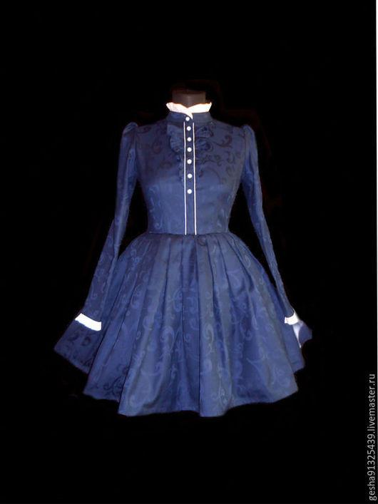 Платья ручной работы. Ярмарка Мастеров - ручная работа. Купить Платье винтажное т синий жаккард. Handmade. Тёмно-синий