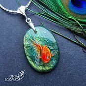 """Украшения handmade. Livemaster - original item Pendant """"Gold fish"""" - miniature painting on stone. Handmade."""