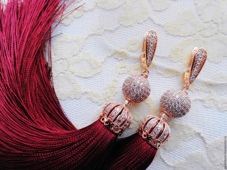 Серьги с шелковыми кисточками